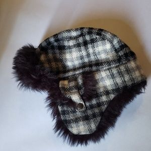 Black and white plaid fuzzy lumberjack winter hat